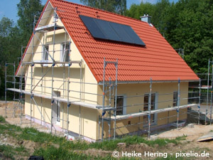 Haus mit Gerüst