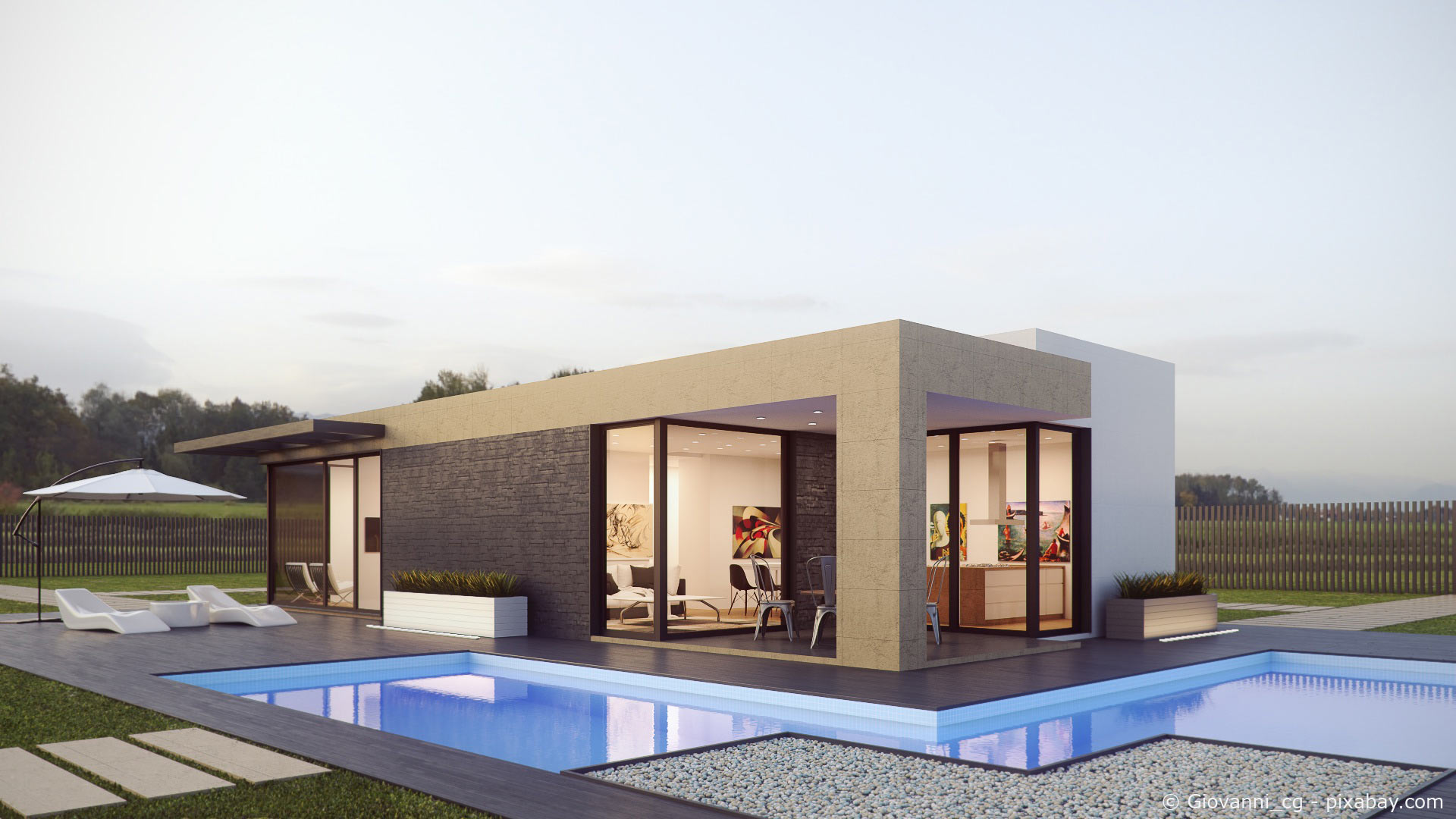 moderner Bungalow mit Pool